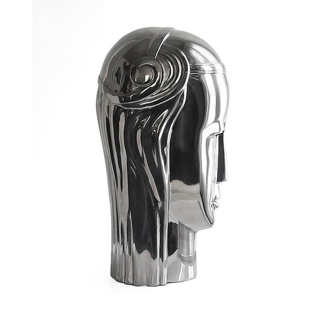 2010s Modern Art Deco Inspired Stainless Steel Roman Goddess Bust For Sale - Image 5 of 6