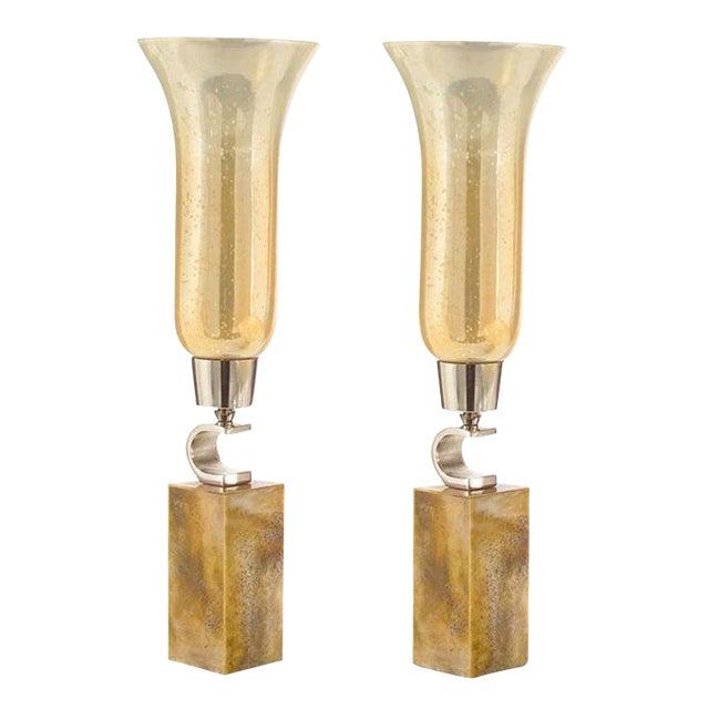John-Richard Fluted Caramel Glass Vase on Base - Set of 2 For Sale