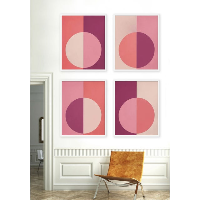 """Set of 4 giclée prints on textured fine art paper with white frames. Set of 4 measures 50"""" x 62""""; individual framed print..."""