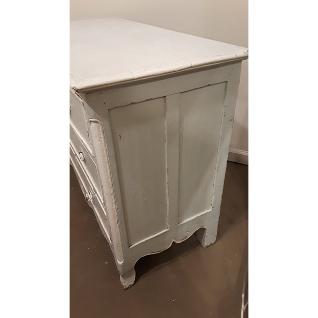 Blue and White Painted French Four Drawer Chest Commode For Sale - Image 4 of 7