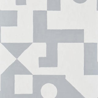 Schumacher Binary Wallpaper in Silver For Sale