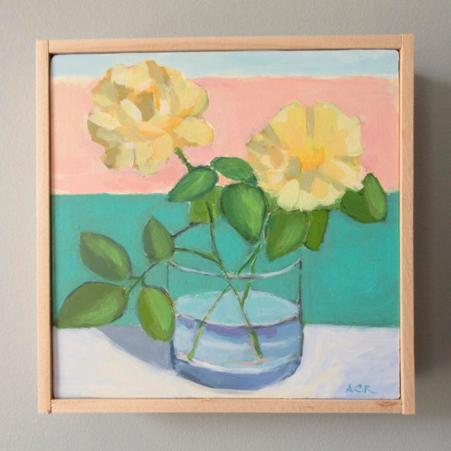 The yellow roses are from my garden and I enjoy painting them. This painting has a semi abstract, impressionist feel to...