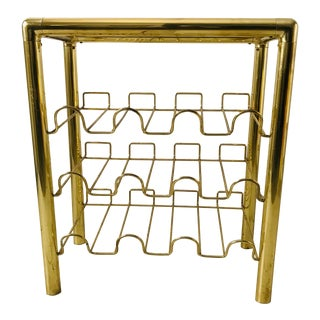 1970s Mastercraft Style Modern Brass Wine Rack Table For Sale