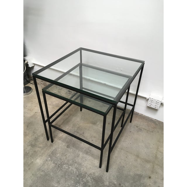 Contemporary 1950s Mid Century Modern Black Iron Frame & Glass Top Nesting Tables - 2 Pieces For Sale - Image 3 of 13