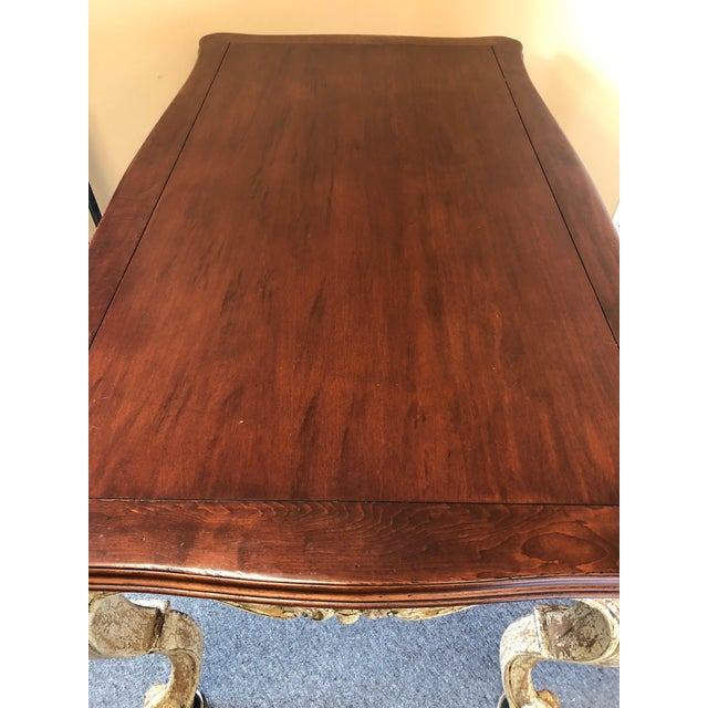Romantic Distressed Carved and Painted Wood Desk With Rich Cherry Top For Sale - Image 12 of 13