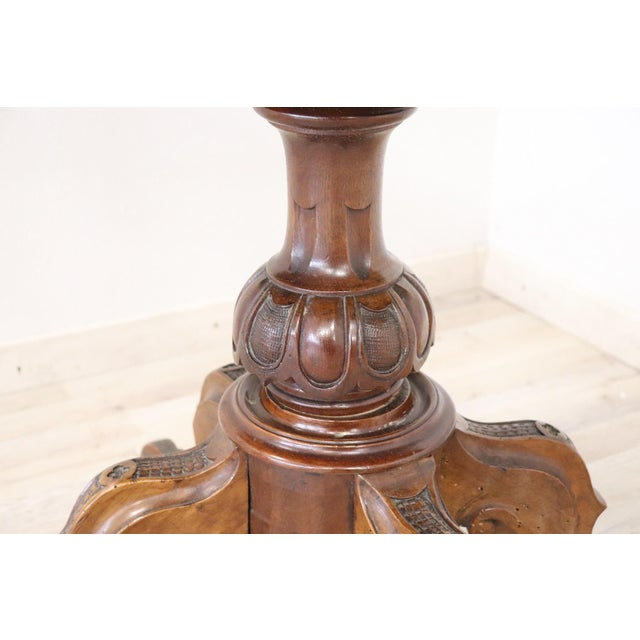 Walnut 19th Century Italian Walnut Carved and Burl Game Table For Sale - Image 7 of 12