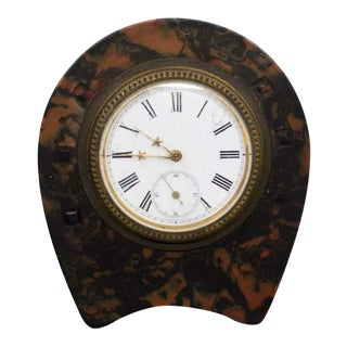Swiss Faux Tortoise Shell Travel Alarm Clock For Sale