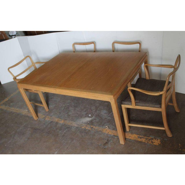 Wood Edward Wormley Dunbar Mahogany Dining Table With Chairs Two Leaves Two Armchairs For Sale - Image 7 of 11