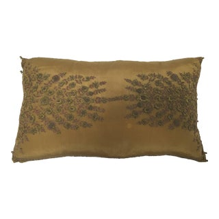 Mid Century Silk Throw Pillow Embroidered With Raised Metallic Embroidery For Sale