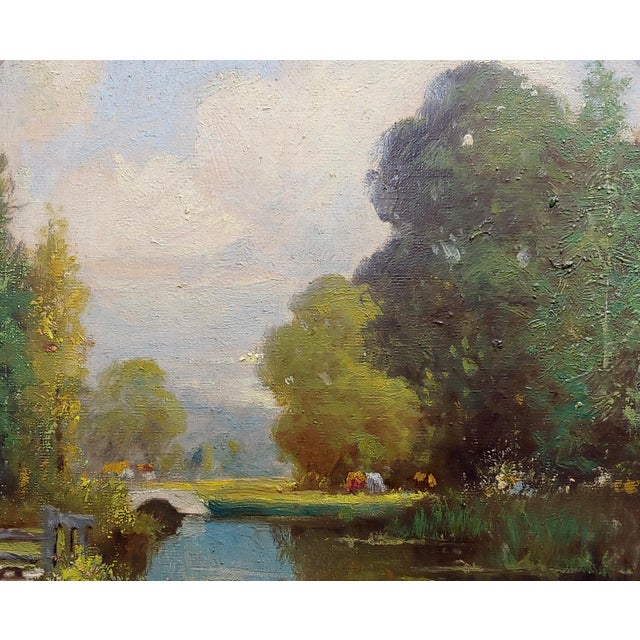 George Thompson Pritchard -Bridge Over a Pond -Impressionist Oil Panting C1920s For Sale - Image 4 of 10