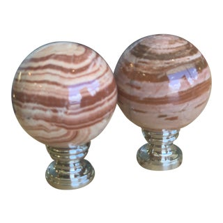 Onyx on Chrome Finials - a Pair For Sale