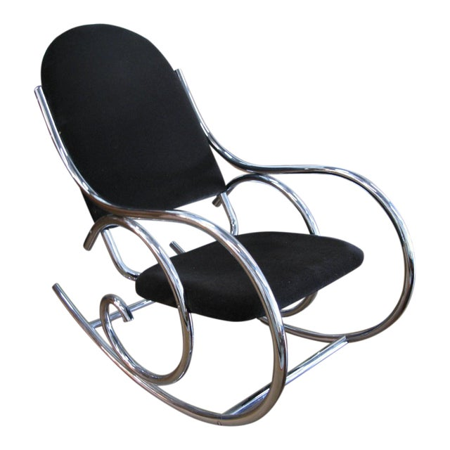 1970s Mid-Centuru Modern Curvaceous Upholstered Chrome Rocking Chair - Image 1 of 10