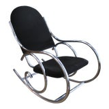 Image of 1970s Mid-Century Modern Curvaceous Upholstered Chrome Rocking Chair For Sale