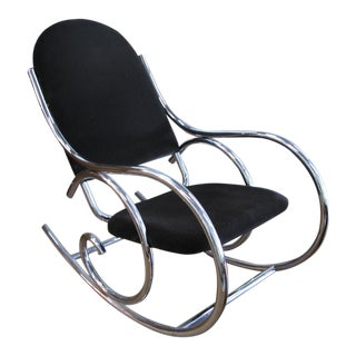 1970s Mid-Century Modern Curvaceous Upholstered Chrome Rocking Chair For Sale