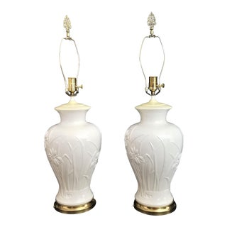 Vintage Paul Hanson Ceramic Lamps With Iris Flowers Floral Relief - Set of 2 For Sale