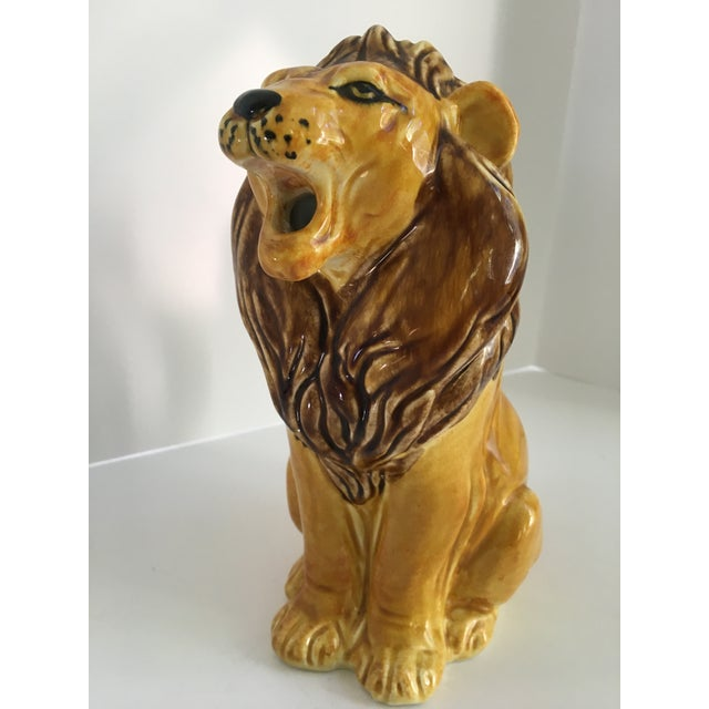 Vintage Italian Hand Painted Roaring Lion Pitcher For Sale - Image 4 of 11