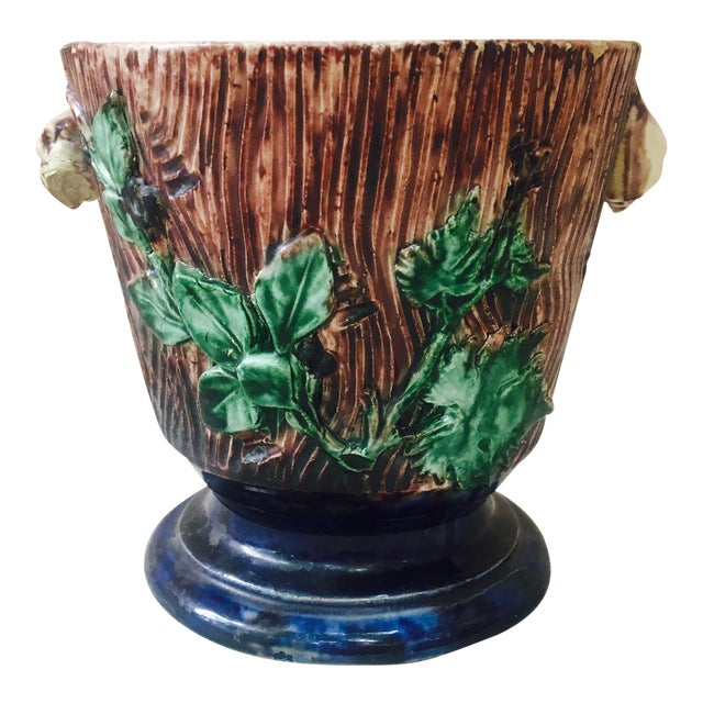 Majolica Palissy Cachepot For Sale