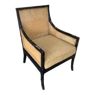 Vintage Faux Bamboo Frame Cane Chair For Sale