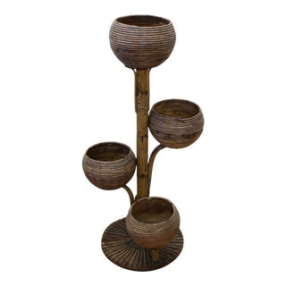 1960s Mid-Century Modern Rattan Tiki Style Planter Stand For Sale