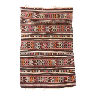 Vintage Striped Turkish Kilim Rug
