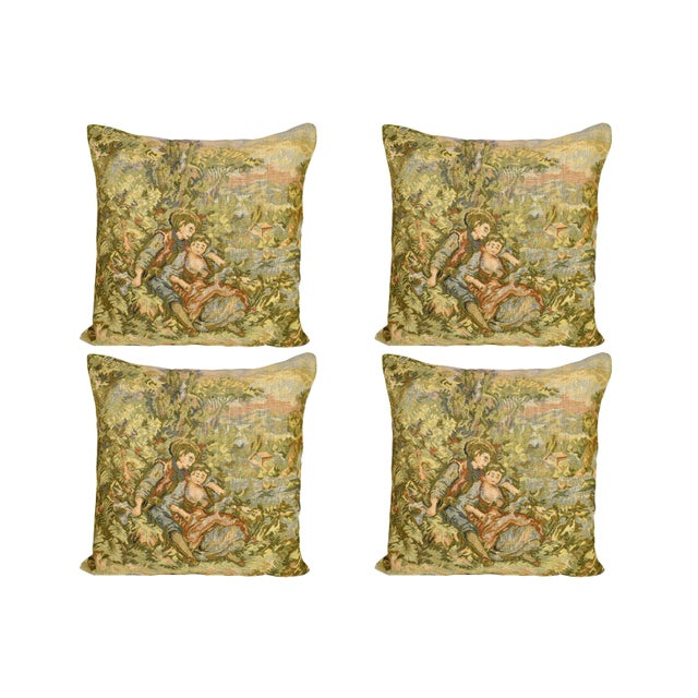 Textile French Style Fancy Tapestry Cushion Pillow Cover - Set of 4 For Sale - Image 7 of 7