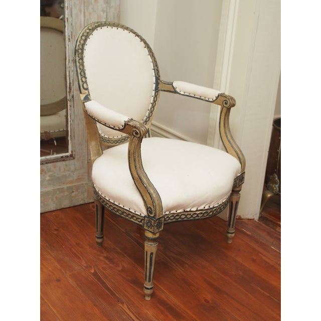Wood PAIR OF LOUIS XVI PAINTED FAUTEUILS For Sale - Image 7 of 11