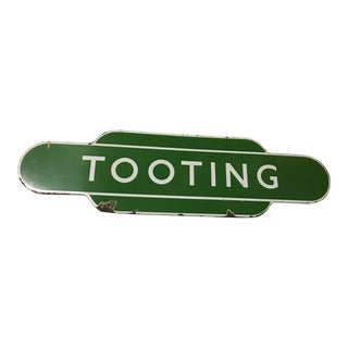 1950s Vintage British Rail Tooting Station Enamel Sign For Sale