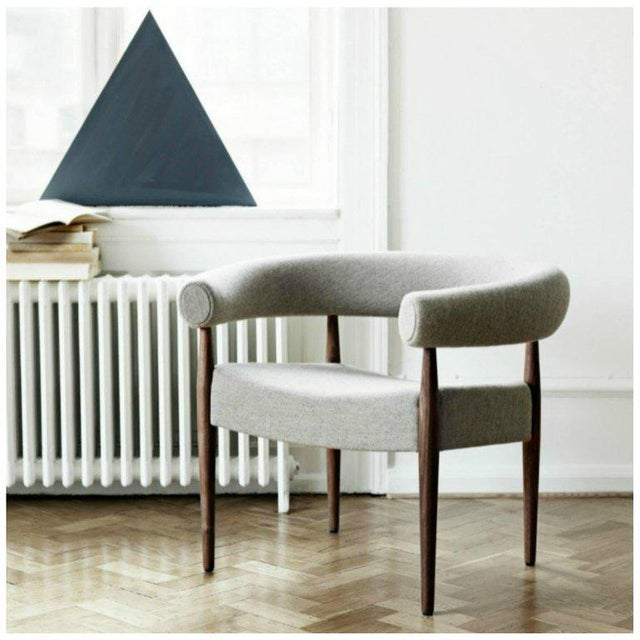 Gray Pair of Nanna Ditzel Ring Chairs in Walnut and Wool for Getama, Denmark For Sale - Image 8 of 9