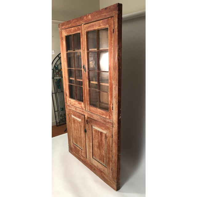 19th Century New England Country Corner Cupboard C. 1840 For Sale - Image 4 of 13