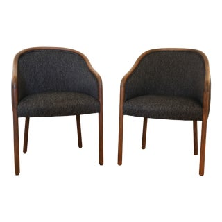 1960s Vintage Ward Bennett for Brickel Upholstered Club Chairs- A Pair For Sale