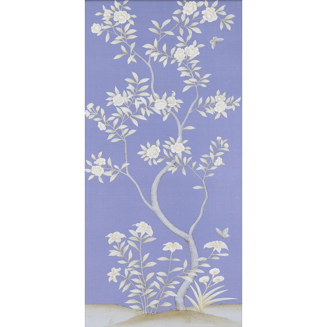 """Asian Jardins en Fleur """"Inverness"""" by Simon Paul Scott Chinoiserie Hand-Painted Silk Diptych, Out of Production - 2 Pieces For Sale - Image 3 of 6"""