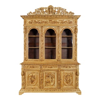 19th Century French Napoleon III Carved Oak Three-Door Hunt Bookcase Cabinet For Sale