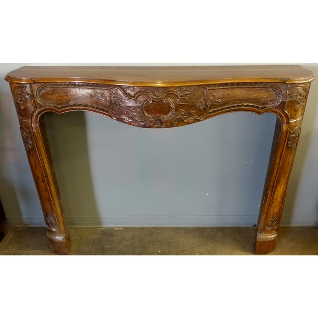 19th Century Hand Carved Walnut Fireplace Mantel - Image 4 of 10