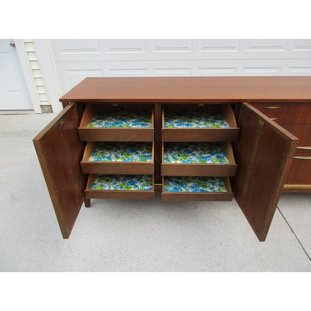 Gold Mid Century Walnut Triple Dresser with Reversible Cane Side Panels For Sale - Image 8 of 11