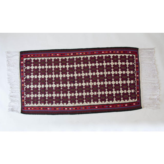 Turkish Jewel Toned Kilim Rug With Long Tassel For Sale In Los Angeles - Image 6 of 6