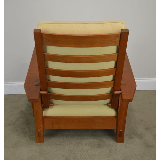 Stickley Mission Collection Cherry Bustle Back Spindle Morris Chair W/ Ottoman For Sale In Philadelphia - Image 6 of 13
