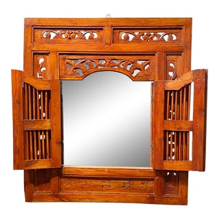 Vintage Balinese Mirror From Old Window For Sale