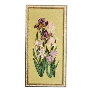 Vintage Iris Floral Needlepoint Embroidery For Sale