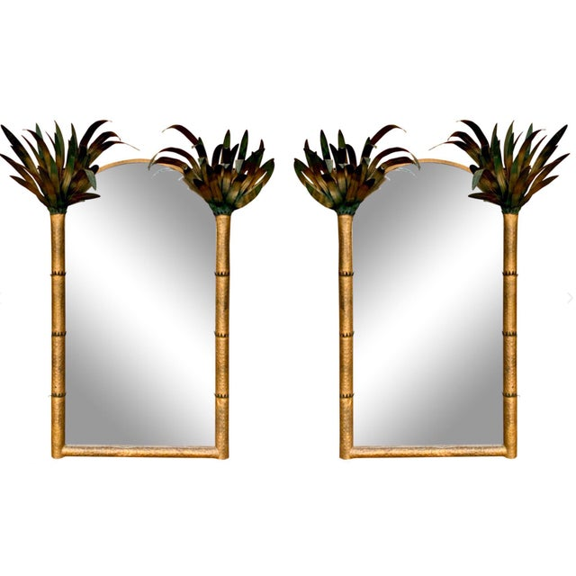 Late 20th Century Pair of Gilt Metal Hollywood Regency Tole Palm Tree Mirrors For Sale - Image 5 of 5