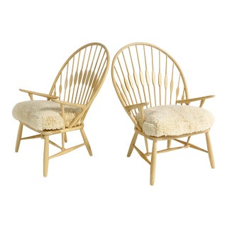 Hans Wegner Peacock Lounge Chairs With Custom Sheepskin Cushions, Pair For Sale