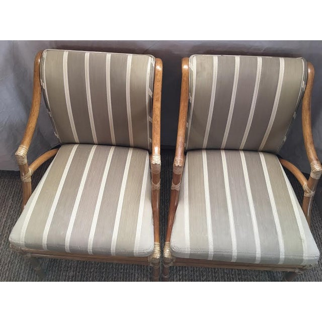 Traditional Vintage McGuire Rattan Accent Chairs - A Pair For Sale - Image 3 of 8