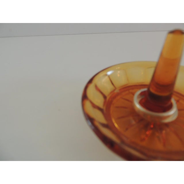 Round Amber Color Glass Ring Holder For Sale - Image 4 of 5