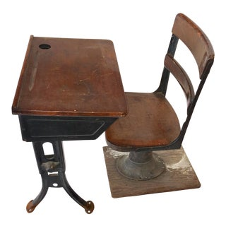 1950s Early American School Child Desk & Chair - 2 Pieces For Sale