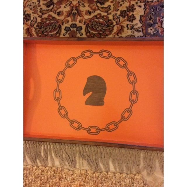 Hollywood Regency Hermès Inspired Orange Equestrian Bar Tray Table For Sale - Image 10 of 12