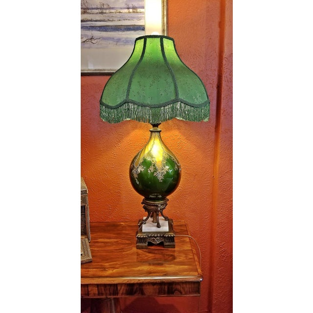 We present to you a BEAUTIFUL Vintage Murano Glass Table Lamp with Gold Overlay and Bronze and Marble Mounts from circa...