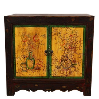 Vantage Chinese Mongolia Painted Night Stand/End Table For Sale