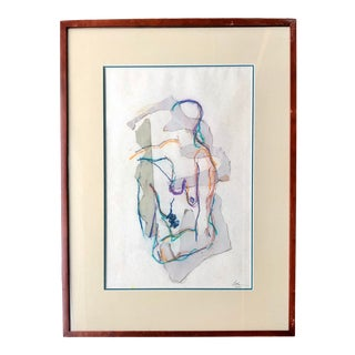 Vintage Abstract Nude Pastel Mixed Media Art For Sale