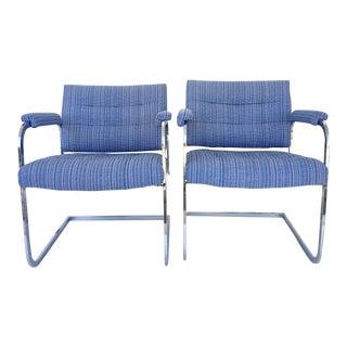 Mid-Century Modern Milo Baughman Style Chrome Armchairs - A Pair