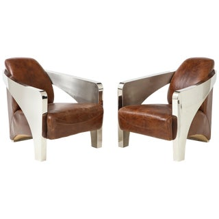 Pair of French Art Deco Aviator Armchairs in Chrome and Leather For Sale