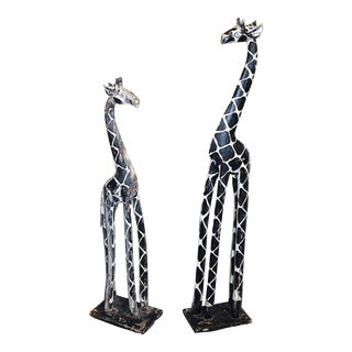 African Carved Giraffes - a Pair For Sale